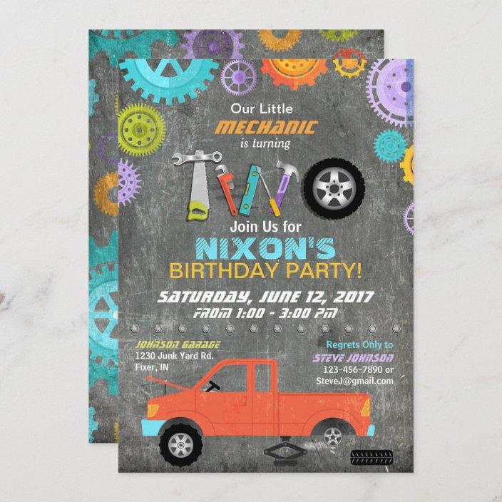 car mechanic gears tools chalkboard birthday invitation zazzle com