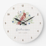 Cardinal and Blueberries Checkered Custom Large Clock