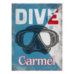 Carmel by the Sea Vintage Scuba Diving Mask Poster