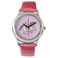 Carousel Unicorn with Hearts and Stars Wrist Watch