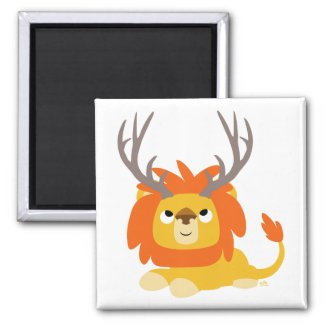 Cartoon Antlered Lion magnet magnet