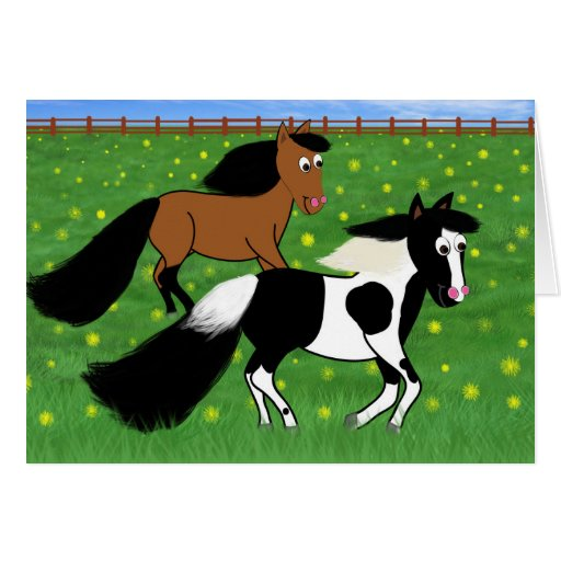 Cartoon Horses Running in Field