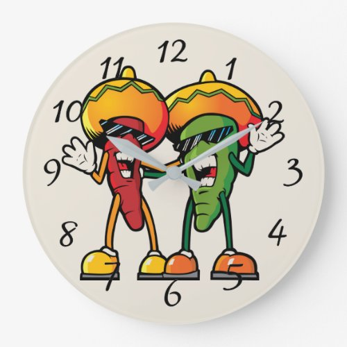 Cartoon hot peppers large clock