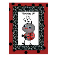 Cartoon Ladybug Thinking Of You Post Card