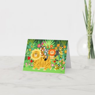 Cartoon Liger and Friends notecard card