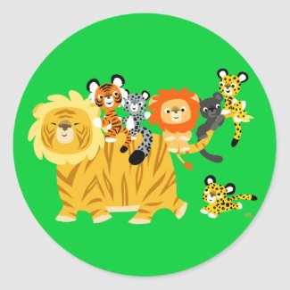 Cartoon Liger and Friends round sticker sticker