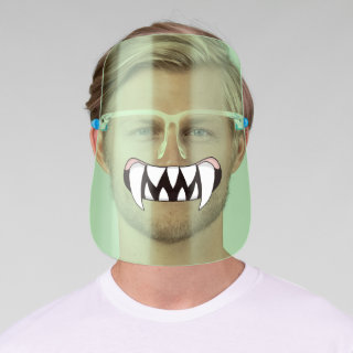 Cartoon Monster Teeth Mouth Green Face Shield