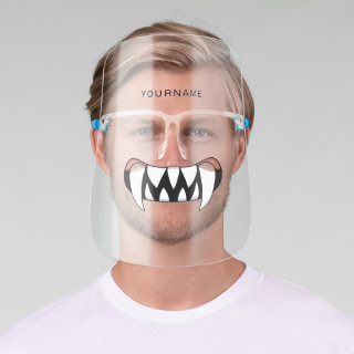 Cartoon Monster Teeth Mouth Personalized Face Shield