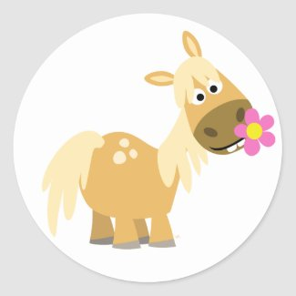 Cartoon Pony and Flower sticker sticker