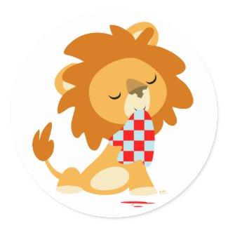 Cartoon Satiated Lion sticker sticker