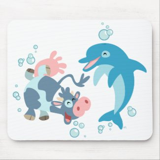 Cartoon Seacow and Dolphin mousepad mousepad