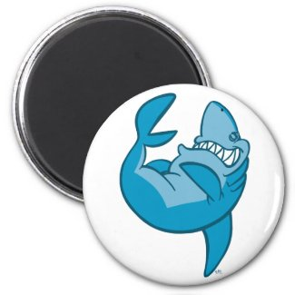 Cartoon Shark rolling back laughing Magnet magnet