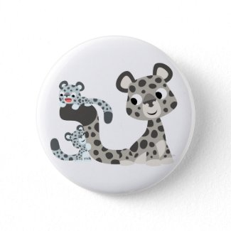 Cartoon Snow Leopard and Cubs Button Badge button