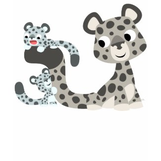 Cartoon Snow Leopard and Cubs Children T-shirt shirt