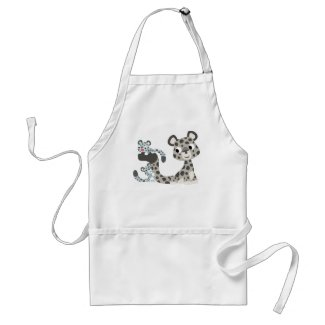 Cartoon Snow Leopard and Cubs Cooking Apron apron