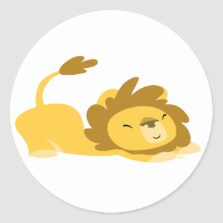 Cartoon Stretching Lion sticker sticker