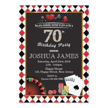 Casino 70th Birthday Invitation