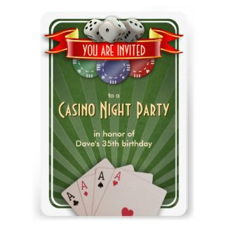 Casino Poker Night Birthday Party Personalized Announcement