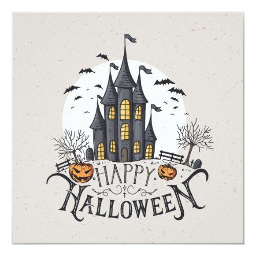Castle, Bats & Pumpkins Halloween Party Invitation
