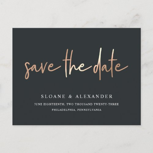 Casual Sketch Copper | Modern Save the Date Announcement Postcard