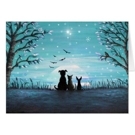 Cat and dogs Winter Sunset Card