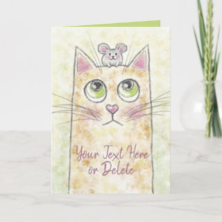 Cat and Mouse Illustration Custom Text Card