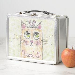 Cat and Mouse Illustration Metal Lunch Box