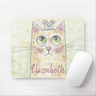 Cat and Mouse Illustration Mouse Pad
