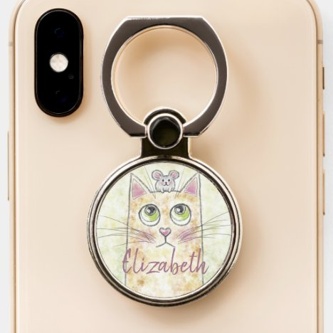 Cat and Mouse Illustration Phone Ring Stand