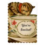 Cat and Teacup Vintage Victorian Invitation