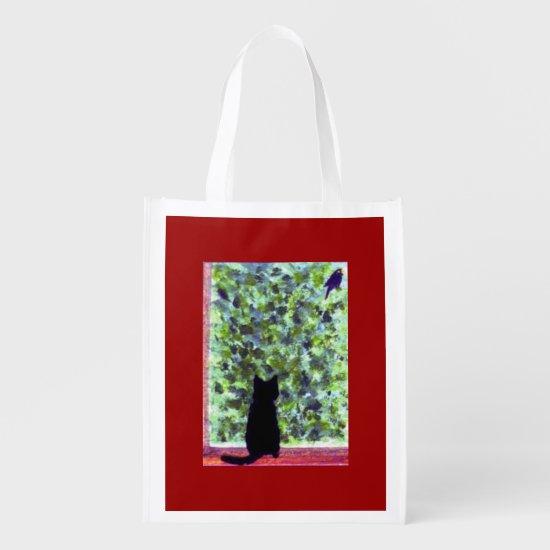 Cat Art Black Cat Bird Watching Grocery Bag