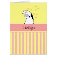 Cat Cherish You Bird Card
