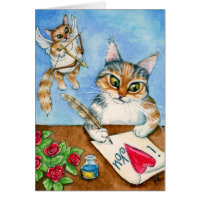 Cat Cupid Valentine's Day greeting card