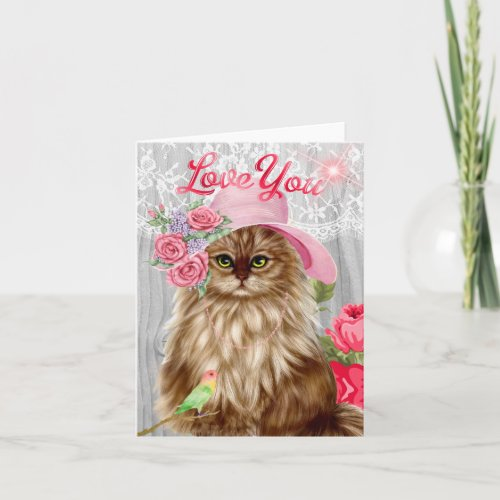 Cat dressed in Hat for Valentine's Day Holiday Card