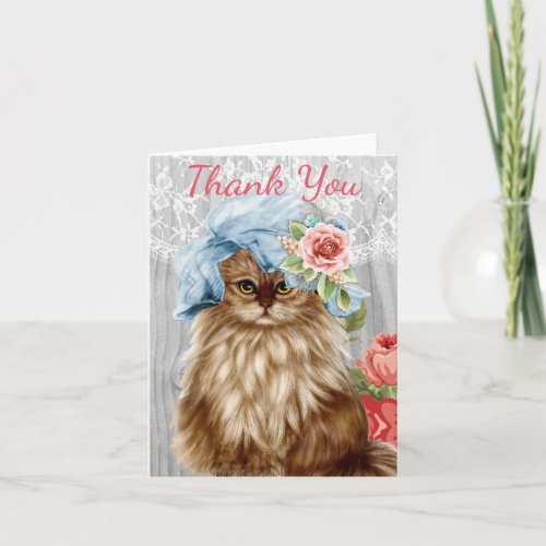 Cat dressed in Hat Thank You Card