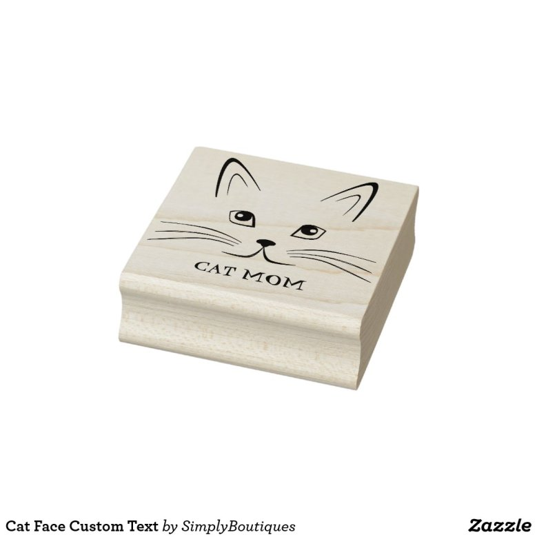Cat Face Custom Text Rubber Stamp