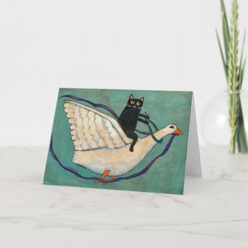 Cat Goose Ride Greeting Cards