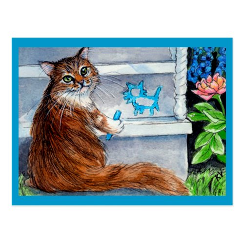 Cat hobo sign, kind lady lives here postcard