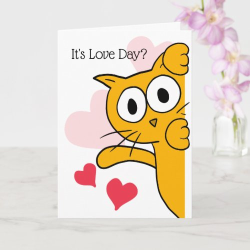 Cat It's Love Day Cute Valentine's Day Greeting Card