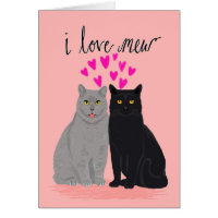 Cat Love Valentines Day - I Love Mew two cats card