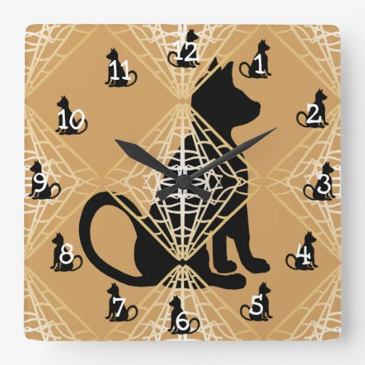 Cat Lovers Goth Style CricketDiane Square Wall Clock