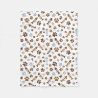 Cat Paw Prints Pattern Fleece Blanket