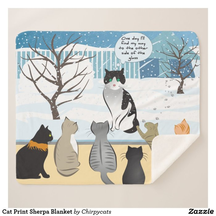 Cat Print Sherpa Blanket