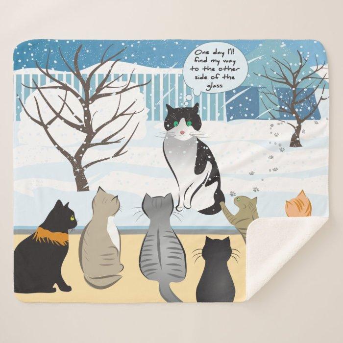 Cat Print Sherpa Blanket