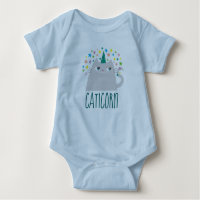 Cat Unicorn Caticorn Colorful Stars Cute Funny Baby Bodysuit