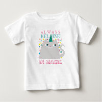 Cat Unicorn Stars Cute Believe in Magic Colorful Baby T-Shirt