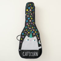 Cat White Unicorn Caticorn Colorful Stars Black Guitar Case