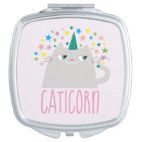 Cat White Unicorn Caticorn Colorful Stars Chic Makeup Mirror