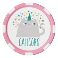 Cat White Unicorn Caticorn Colorful Stars Chic Poker Chips Set