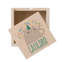 Cat White Unicorn Caticorn Colorful Stars Chic Wooden Keepsake Box